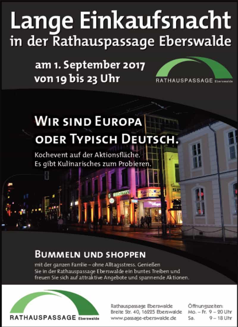Rathauspassage Eberswalde einkaufsnacht-rathauspassage Lange Einkaufsnacht am 1. September Veranstaltungen
