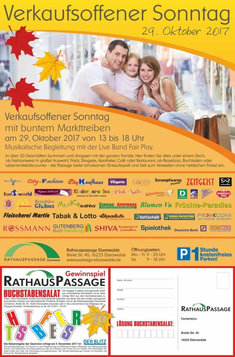 Rathauspassage Eberswalde RHP_Verkaufsoff-Sonntag_29_10_2017 Am 29.10.2017 verkaufsoffener Sonntag Aktuelles Angebote & Aktionen