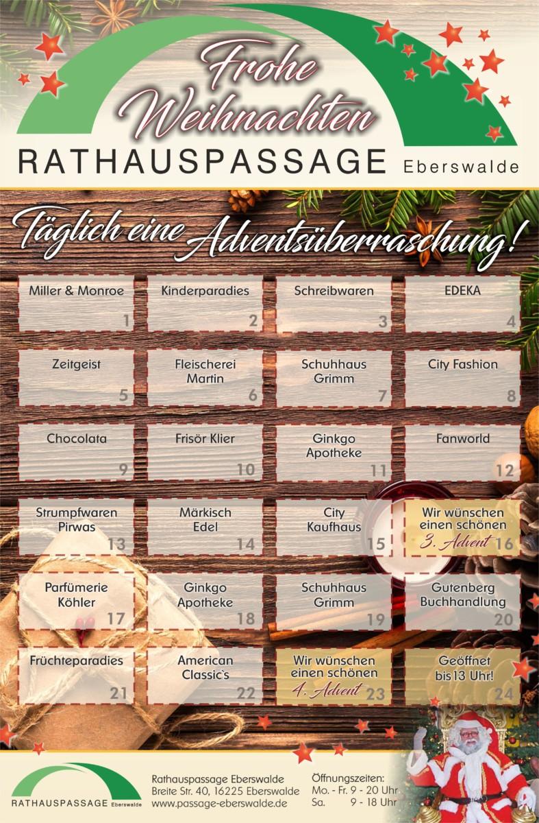 Rathauspassage Eberswalde 50176_28_11_2018_Adventskalender Adventskalender in der Rathauspassage Aktuelles Angebote & Aktionen