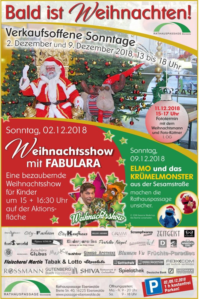Rathauspassage Eberswalde 50176_Weihnachten_Verkaufsoffene-Sonntage_28_11_2018 Sonntag, 02.12.2018 von 13- 18 Uhr geöffnet Aktuelles Veranstaltungen