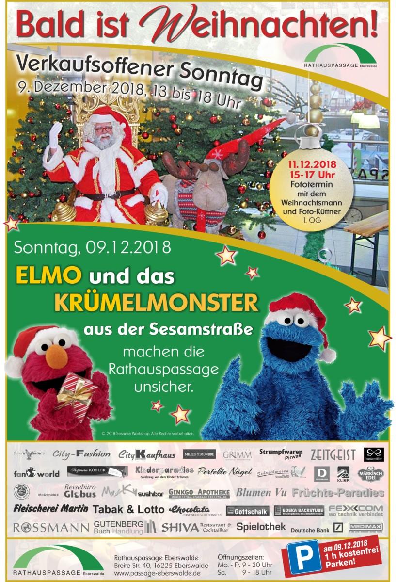 Rathauspassage Eberswalde 50176_Weihnachten_Verkaufsoffene-Sonntage_05_12_2018 Am 09.12.2018, verkaufsoffener Sonntag, von 13- 18 Uhr geöffnet Aktuelles Veranstaltungen