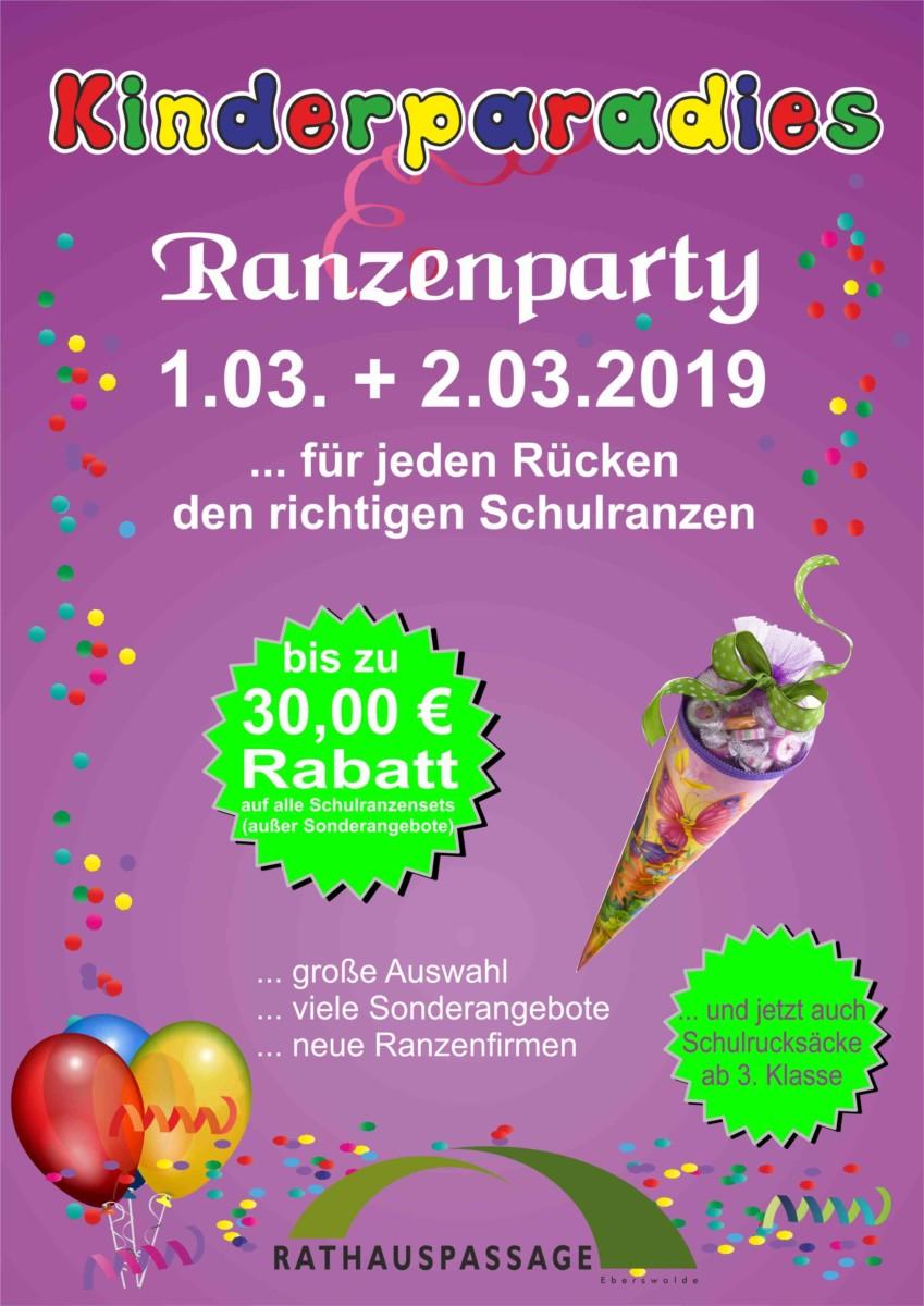 Rathauspassage Eberswalde Ranzenfete Ranzenparty im Kinderparadies am 01.03. und 02.03.2019 Aktuelles Angebote & Aktionen