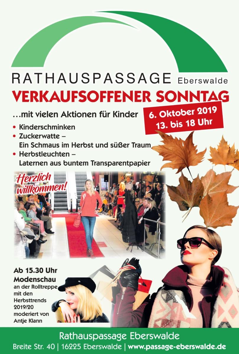 Rathauspassage Eberswalde 0001-3 Verkaufsoffener Sonntag am 06.10.2019 Aktuelles Veranstaltungen