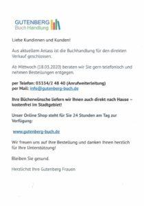 Eine Information aus der Gutenberg Buchhandlung