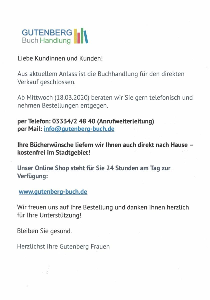 Rathauspassage Eberswalde CCI02042020-2 Eine Information aus der Gutenberg Buchhandlung Aktuelles