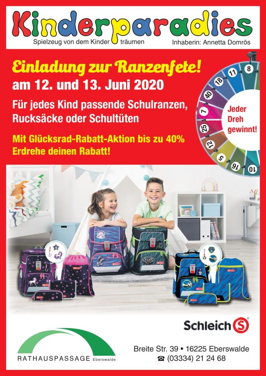 Rathauspassage Eberswalde KiPa-A4 Ranzenfete am 12. und 13. Juni im Kinderparadies in der Rathauspassage Eberswalde Aktuelles