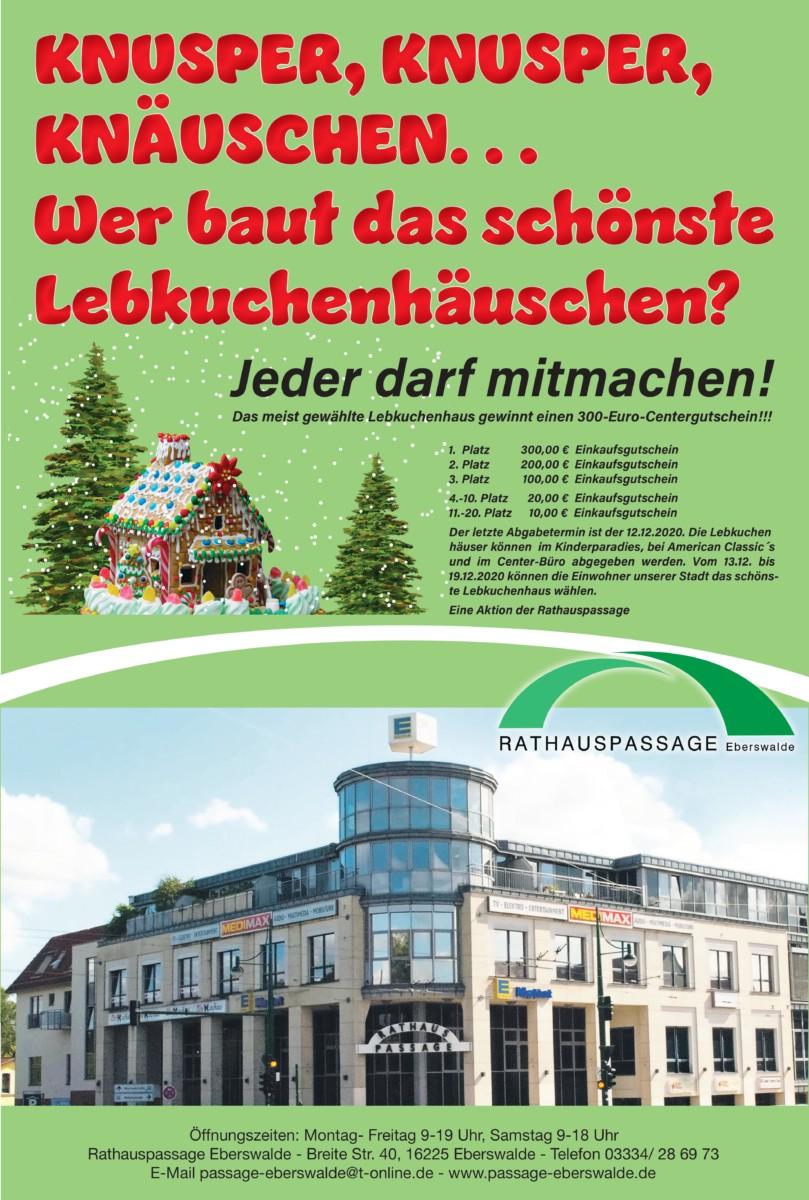 Rathauspassage Eberswalde RHP-JPG-1711 Wir suchen das schönste Lebkuchenhaus Aktuelles