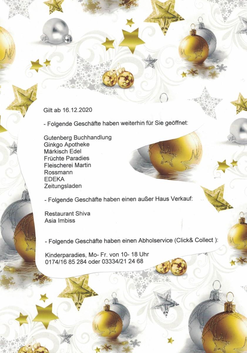 Rathauspassage Eberswalde CCI15122020 Diese Geschäfte haben weiterhin geöffnet, einen Liefer- oder Abholservice: Aktuelles